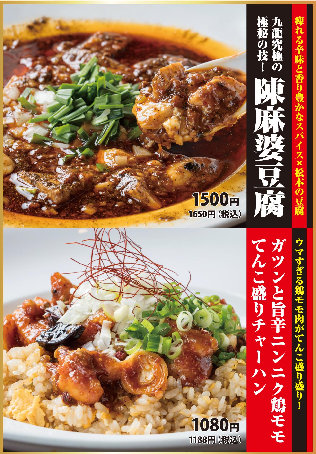 陳麻婆豆腐/旨辛ニンニク鶏モモてんこ盛りチャーハン